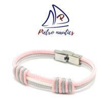 Ezüst fehér halványrózsaszín színű vitorlás karkötő