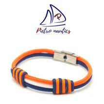 Sötétkék fehér neon narancs színű vitorlás karkötő