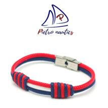 Sötétkék fehér piros színű vitorlás karkötő