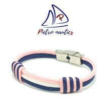 Sötétkék fehér halványrózsaszín színű vitorlás karkötő