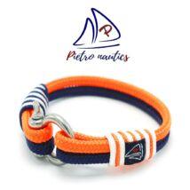 Sötétkék- neon narancs - fehér színű vitorlás karkötő