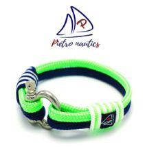 Sötétkék- neon zöld - fehér színű vitorlás karkötő