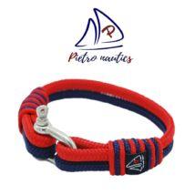 Sötétkék - piros színű vitorlás karkötő