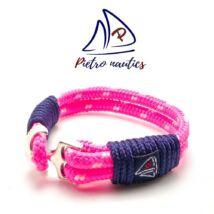 Neon rózsaszín - fehér mintás vitorlás karkötő