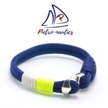 Sötétkék - fehér- neon sárga vitorlás karkötő
