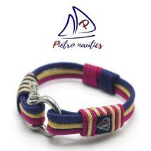 Bordó - bézs - sötétkék színű vitorlás karkötő