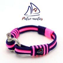 Sötétkék - neon rózsaszín színű vitorlás karkötő