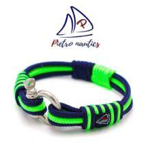 Sötétkék - neon zöld színű vitorlás karkötő