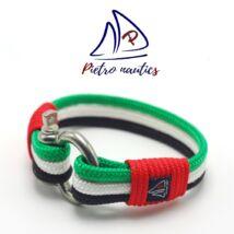 Zöld - fehér - fekete színű vitorlás karkötő