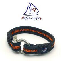 Fekete neon narancs-fekete cirmos mintás vitorlás karkötő XXL