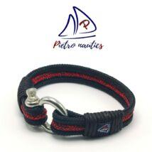 Fekete piros-fekete cirmos mintás vitorlás karkötő XXL