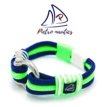 Sötétkék - neon zöld - fehér színű vitorlás karkötő XXL