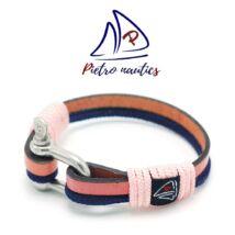 Rózsaszín bőr és sötétkék kötél karkötő