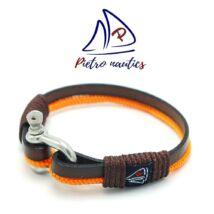 Sötétbarna bőr és narancs kötél karkötő