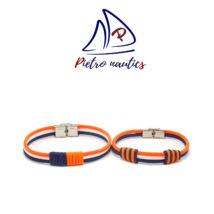 Sötétkék fehér neon narancs színű vitorlás karkötő Duo