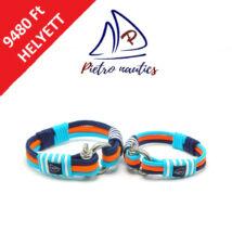 Sötétkék - neon narancs - halványkék  színű vitorlás karkötő Duo