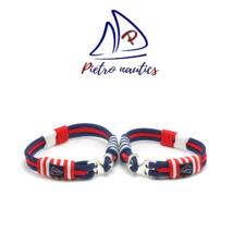 Sötétkék fehér piros színű vitorlás karkötő Duo