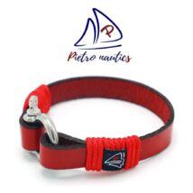 Piros bőr karkötő