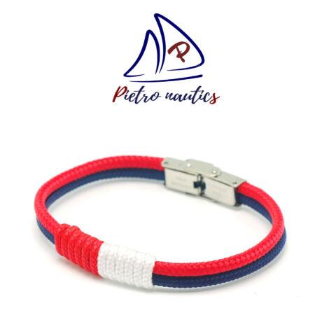 Sötétkék piros színű vitorlás karkötő piros-fehér átkötéssel Duo