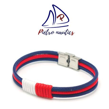Sötétkék piros színű vitorlás karkötő piros-fehér átkötéssel
