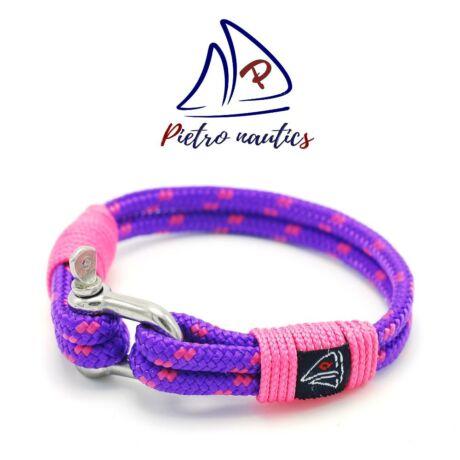 Lila - neon rózsaszín mintás vitorlás karkötő