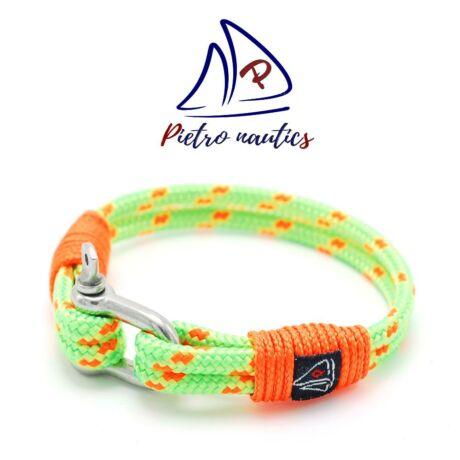 Neon zöld - neon narancs  mintás vitorlás karkötő