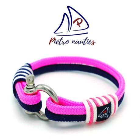 Sötétkék - neon rózsaszín - fehér vitorlás karkötő