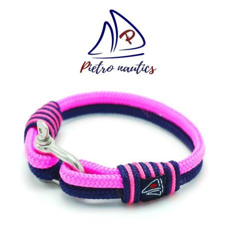 Sötétkék - neon rózsaszín vitorlás karkötő