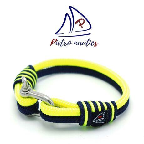 Sötétkék - neon sárga színű vitorlás karkötő