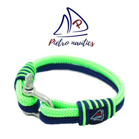 Sötétkék- neon zöld színű vitorlás karkötő