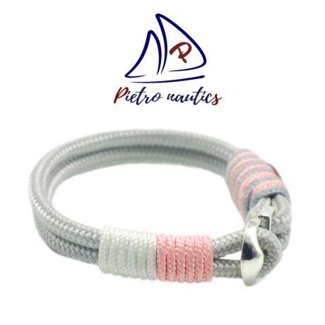 Ezüst - fehér - púder rózsaszín vitorlás karkötő