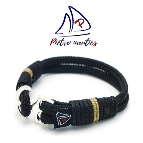 pietro-nautics-fekete-szinu-vitorlas-karkoto-bezs-csikkal-horgonyos-4mm-2soros