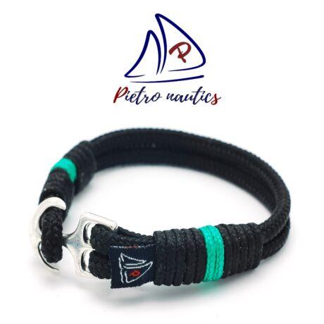 Fekete színű vitorlás karkötő türkiz csíkkal