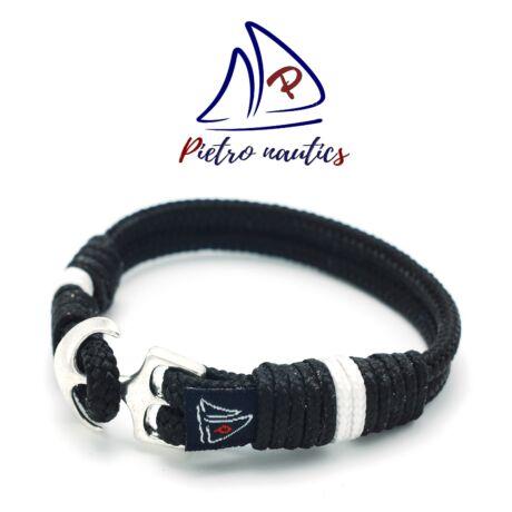 pietro-nautics-fekete-szinu-vitorlas-karkoto-feher-csikkal-horgonyos-4mm-2soros