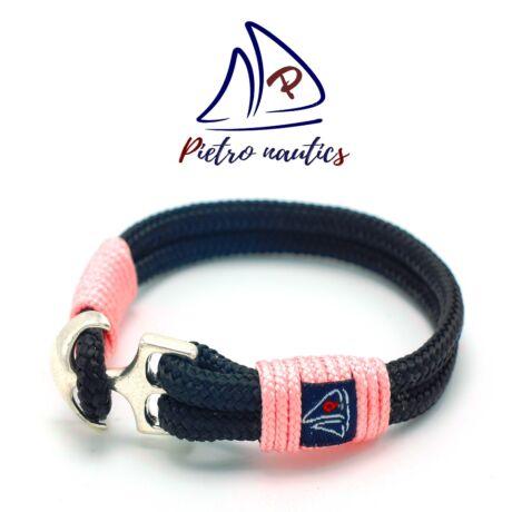Fekete színű vitorlás karkötő halvány rózsaszín átkötéssel