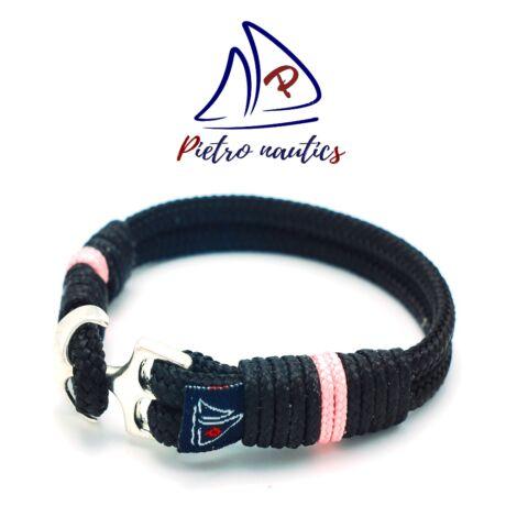 Fekete színű vitorlás karkötő halvány rózsaszín csíkkal
