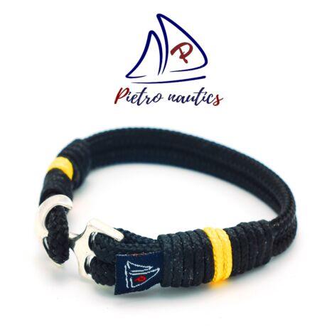 pietro-nautics-fekete-szinu-vitorlas-karkoto-napsarga-csikkal-4mm-horgonyos-2soros-sarga