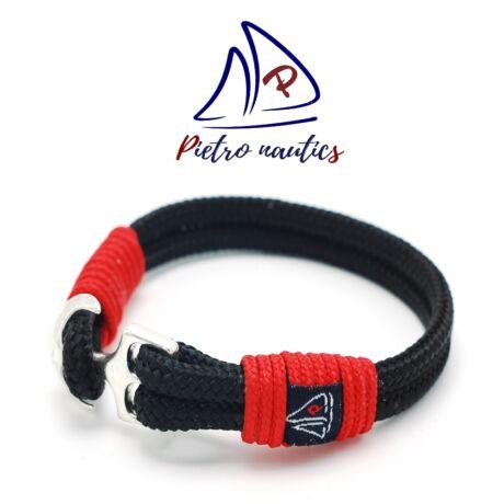 Fekete színű vitorlás karkötő piros átkötéssel