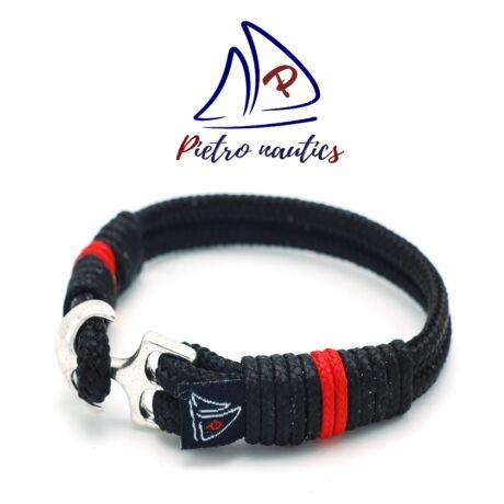 Fekete színű vitorlás karkötő piros csíkkal