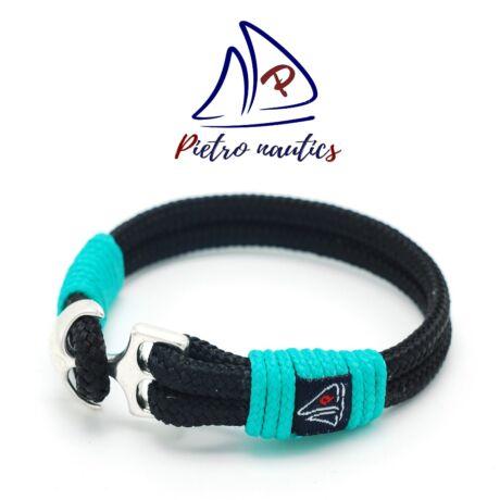 Fekete színű vitorlás karkötő türkiz átkötéssel