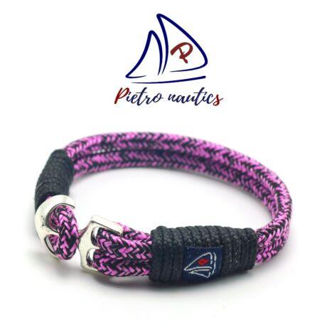 pietro-nautics-halvany-rozsaszin-fekete-cirmos-mintas-vitorlas-karkoto-horgonyos-4mm-2soros