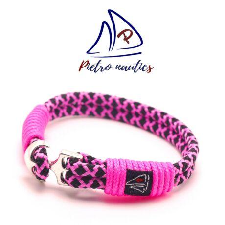 pietro-nautics-neon-rozsaszin-fekete-gyemant-mintas-vitorlas-karkoto-horgonyos-4mm-2soros