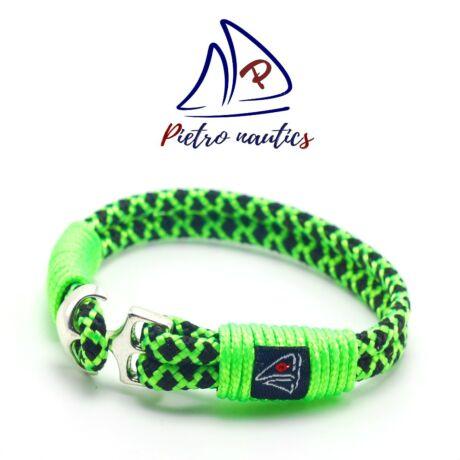 Neon zöld fekete gyémánt mintás vitorlás karkötő