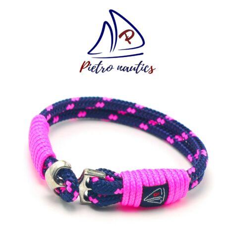 Sötétkék neon rózsaszín mintás vitorlás karkötő