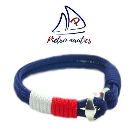 Sötétkék- fehér- piros vitorlás karkötő