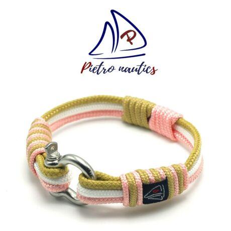 Halvány rózsaszín - fehér - bézs színű vitorlás karkötő