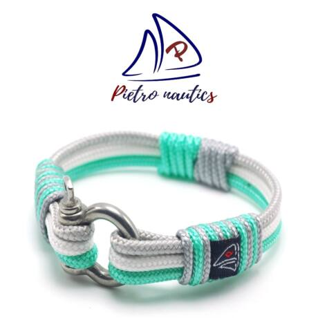 Ezüst - fehér - halványzöld színű vitorlás karkötő