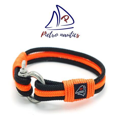 Fekete - neon narancs színű vitorlás karkötő