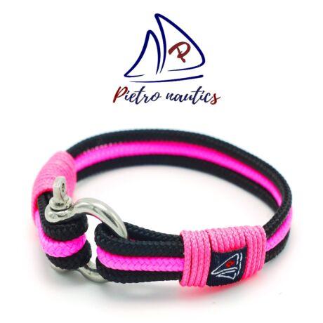 Fekete - neon rózsaszín színű vitorlás karkötő