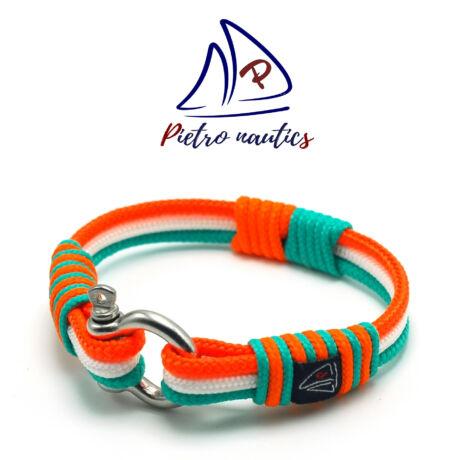 Halványkék - fehér - neon narancs színű  vitorlás karkötő